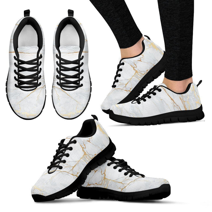 White Gold Scratch Marble Print Women's Sneakers GearFrost