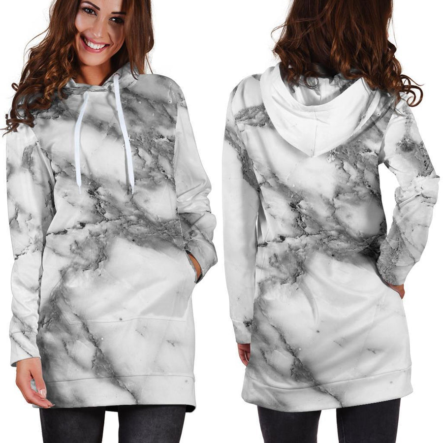 White Gray Marble Print Hoodie Dress GearFrost