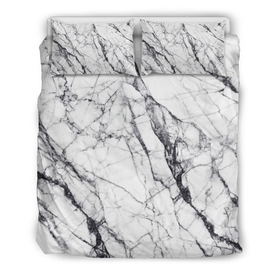 White Gray Scratch Marble Print Duvet Cover Bedding Set GearFrost