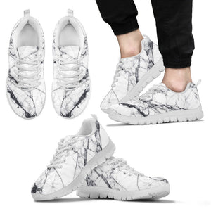 White Gray Scratch Marble Print Men's Sneakers GearFrost