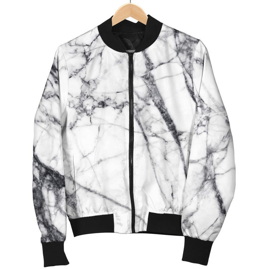 White Gray Scratch Marble Print Women's Bomber Jacket GearFrost