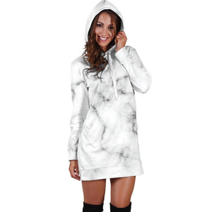 White Grey Smoke Marble Print Hoodie Dress GearFrost