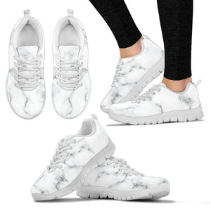 White Grey Smoke Marble Print Women's Sneakers GearFrost