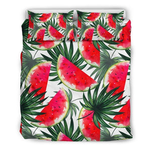 White Palm Leaf Watermelon Pattern Print Duvet Cover Bedding Set GearFrost