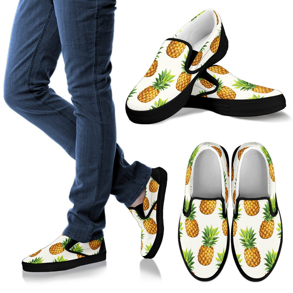 White Pineapple Pattern Print Women's Slip On Shoes GearFrost