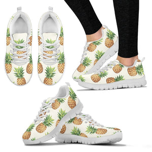 White Pineapple Pattern Print Women's Sneakers GearFrost