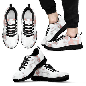 White Rose Gold Marble Print Men's Sneakers GearFrost