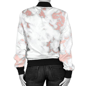 White Rose Gold Marble Print Women's Bomber Jacket GearFrost