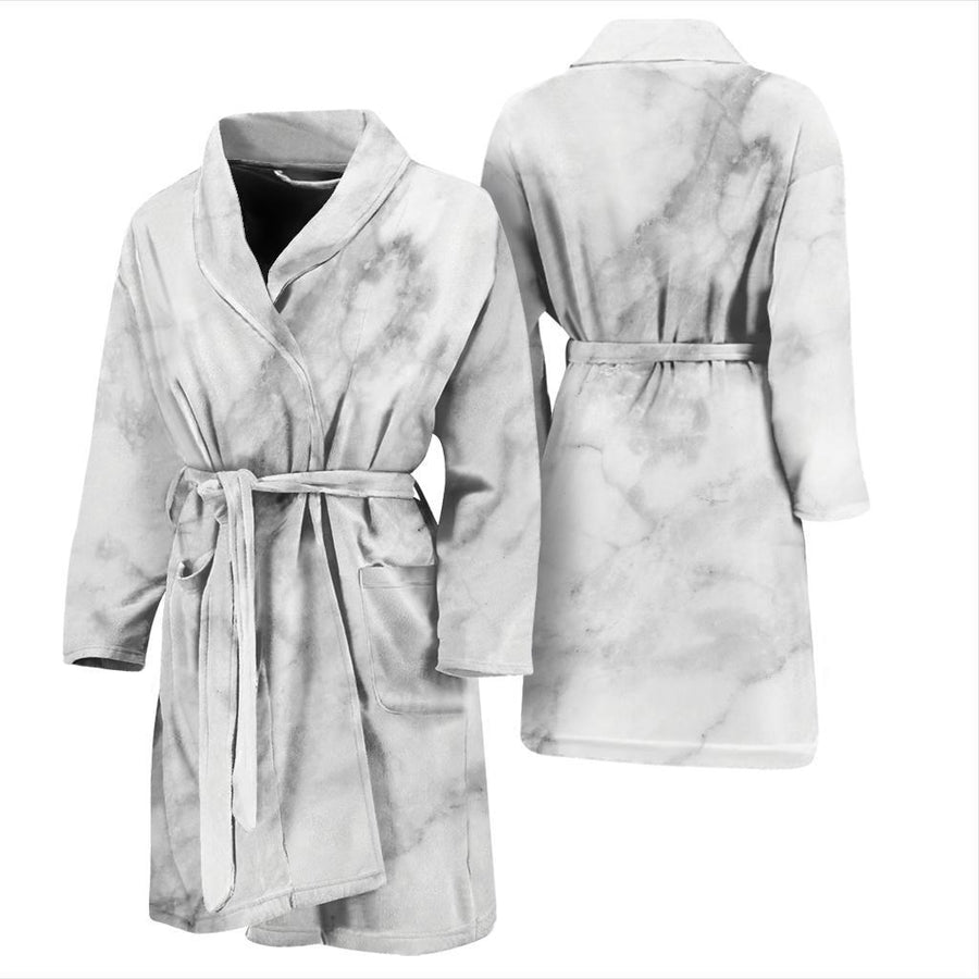 White Smoke Marble Print Men's Bathrobe GearFrost