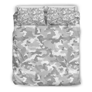 White Snow Camouflage Print Duvet Cover Bedding Set GearFrost