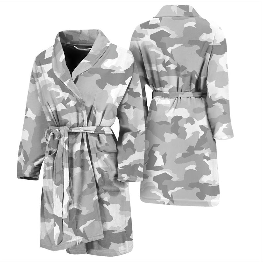White Snow Camouflage Print Men's Bathrobe GearFrost