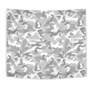 White Snow Camouflage Print Wall Tapestry GearFrost
