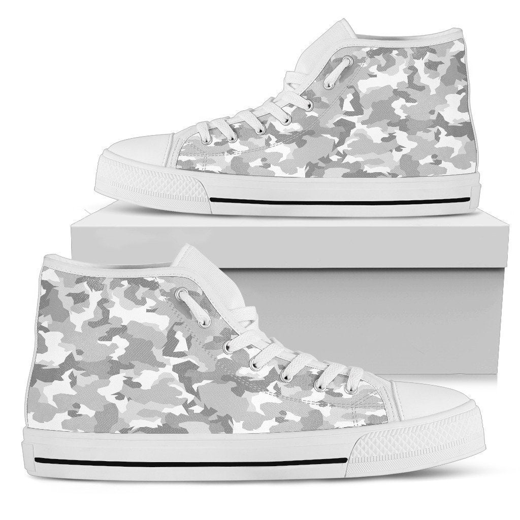 dd0396dde20e1 White Snow Camouflage Print Women's High Top Shoes – GearFrost