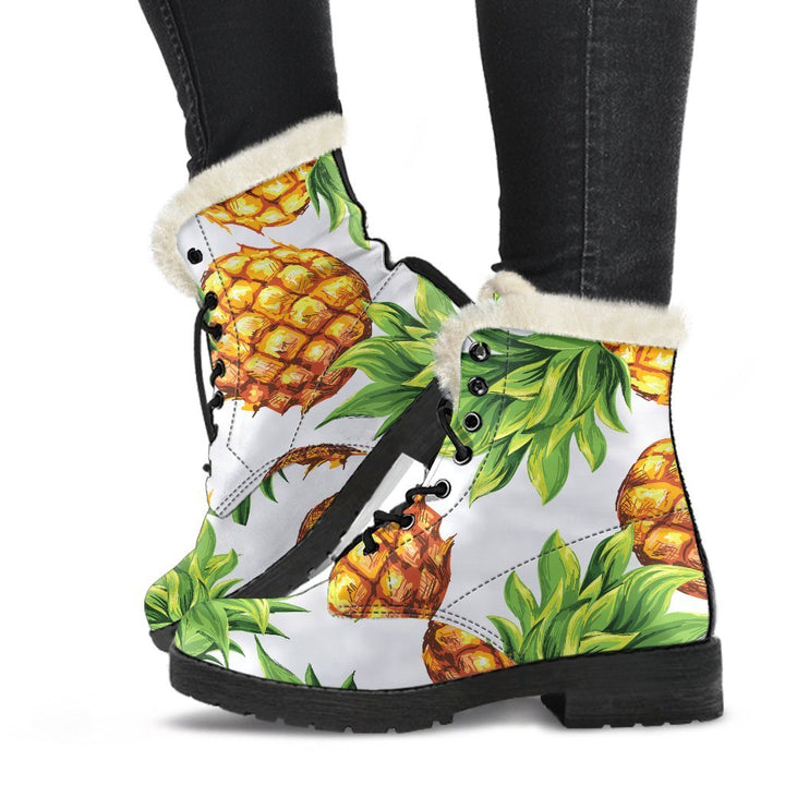 White Summer Pineapple Pattern Print Comfy Boots GearFrost