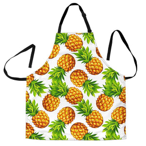 White Summer Pineapple Pattern Print Men's Apron GearFrost