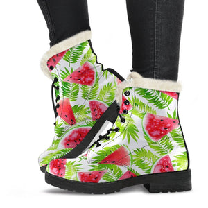 White Summer Watermelon Pattern Print Comfy Boots GearFrost