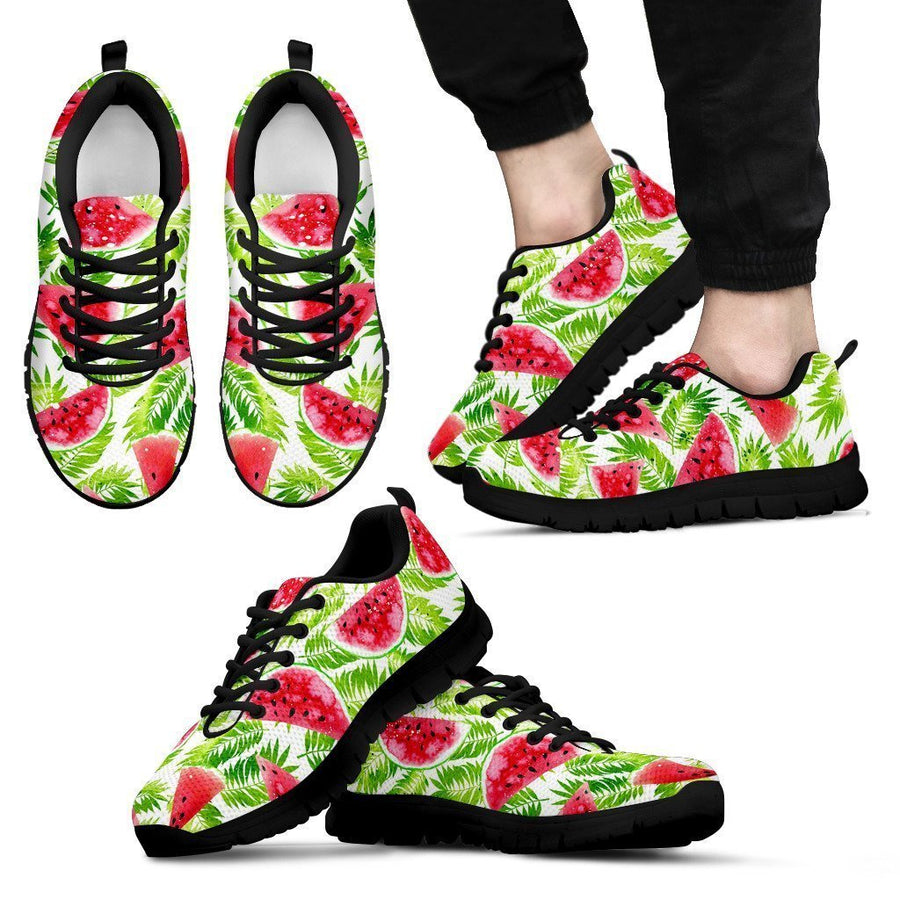 White Summer Watermelon Pattern Print Men's Sneakers GearFrost