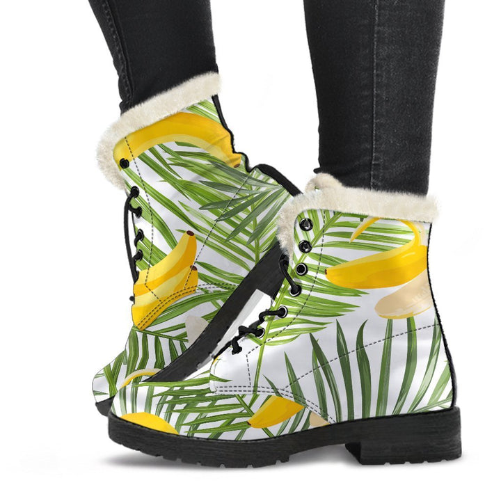 White Tropical Banana Pattern Print Comfy Boots GearFrost