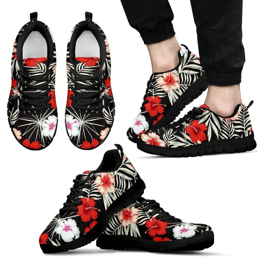 White Tropical Hibiscus Pattern Print Men's Sneakers GearFrost