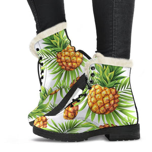 White Tropical Pineapple Pattern Print Comfy Boots GearFrost