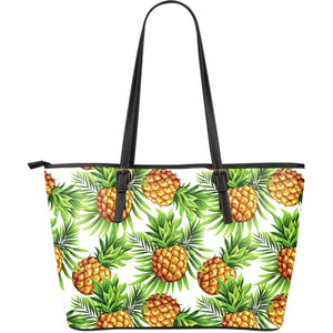 White Tropical Pineapple Pattern Print Leather Tote Bag GearFrost