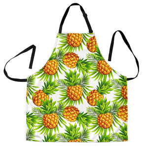 White Tropical Pineapple Pattern Print Men's Apron GearFrost