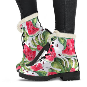 White Tropical Watermelon Pattern Print Comfy Boots GearFrost