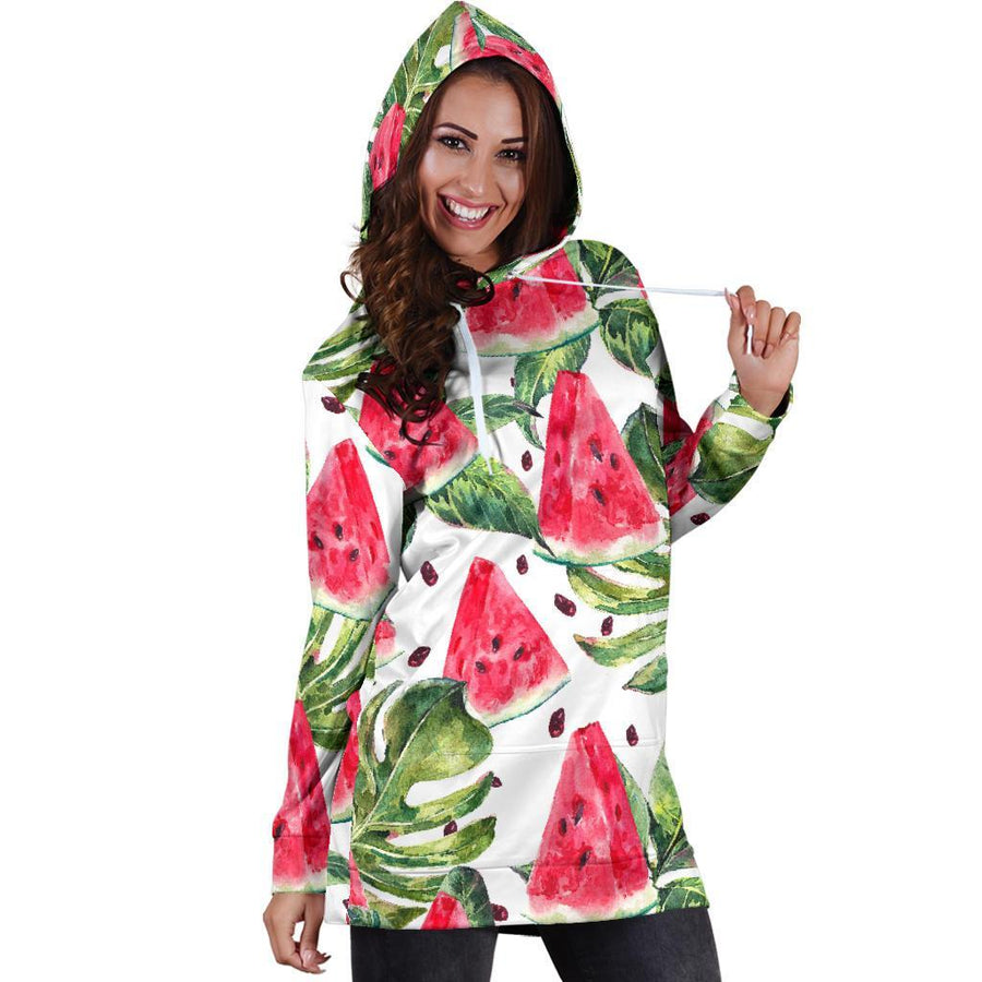 White Tropical Watermelon Pattern Print Hoodie Dress GearFrost