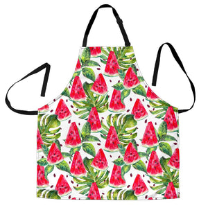 White Tropical Watermelon Pattern Print Men's Apron GearFrost