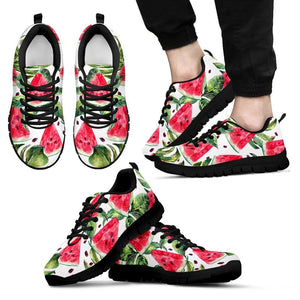 White Tropical Watermelon Pattern Print Men's Sneakers GearFrost