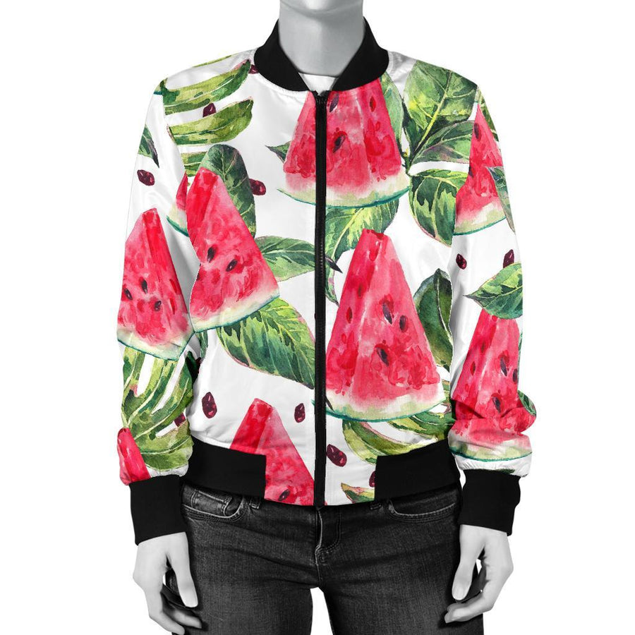 White Tropical Watermelon Pattern Print Women's Bomber Jacket GearFrost