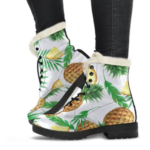 White Watercolor Pineapple Pattern Print Comfy Boots GearFrost