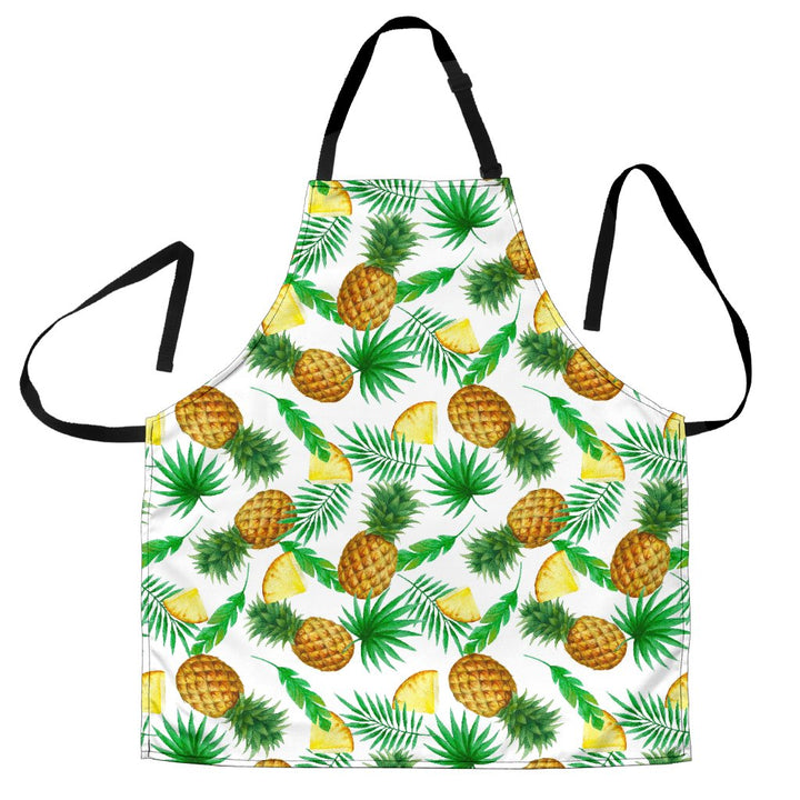 White Watercolor Pineapple Pattern Print Men's Apron GearFrost