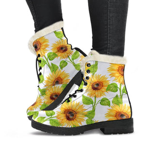 White Watercolor Sunflower Pattern Print Comfy Boots GearFrost