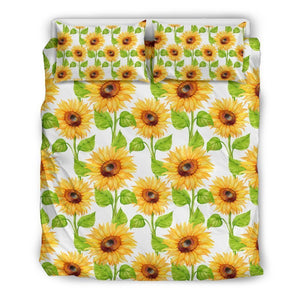White Watercolor Sunflower Pattern Print Duvet Cover Bedding Set GearFrost