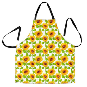 White Watercolor Sunflower Pattern Print Men's Apron GearFrost