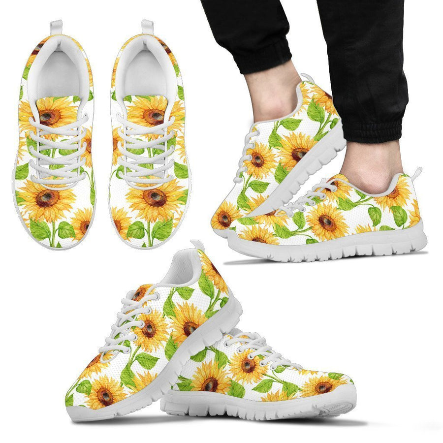 White Watercolor Sunflower Pattern Print Men's Sneakers GearFrost