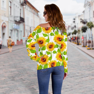 White Watercolor Sunflower Pattern Print Off Shoulder Sweatshirt GearFrost
