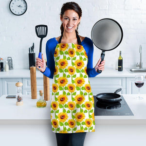 White Watercolor Sunflower Pattern Print Women's Apron GearFrost