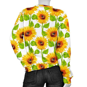 White Watercolor Sunflower Pattern Print Women's Crewneck Sweatshirt GearFrost