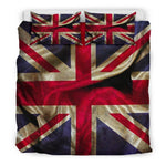 Wrinkled Union Jack British Flag Print Duvet Cover Bedding Set GearFrost