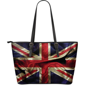 Wrinkled Union Jack British Flag Print Leather Tote Bag GearFrost