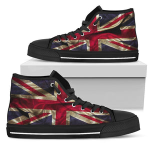 Wrinkled Union Jack British Flag Print Women's High Top Shoes GearFrost