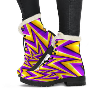 Yellow Big Bang Moving Optical Illusion Comfy Boots GearFrost
