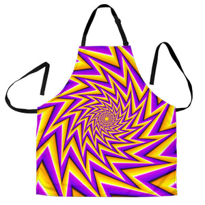 Yellow Big Bang Moving Optical Illusion Men's Apron GearFrost