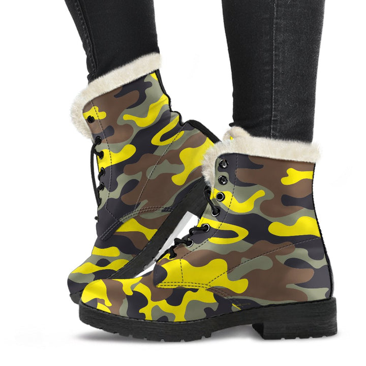 Yellow Brown And Black Camouflage Print Comfy Boots GearFrost