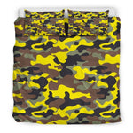 Yellow Brown And Black Camouflage Print Duvet Cover Bedding Set GearFrost