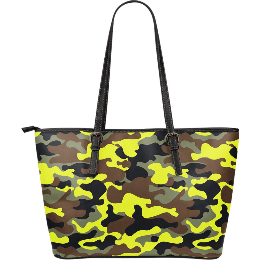 Yellow Brown And Black Camouflage Print Leather Tote Bag GearFrost