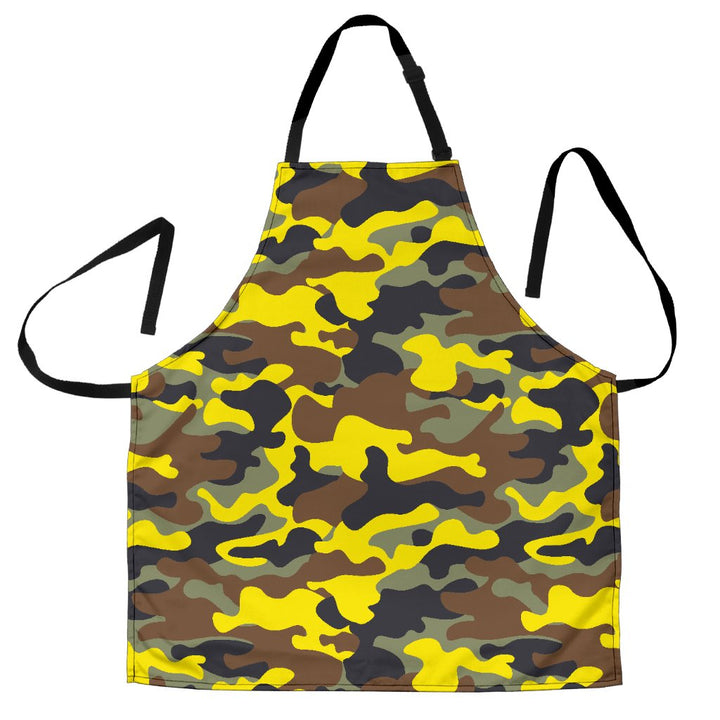 Yellow Brown And Black Camouflage Print Men's Apron GearFrost