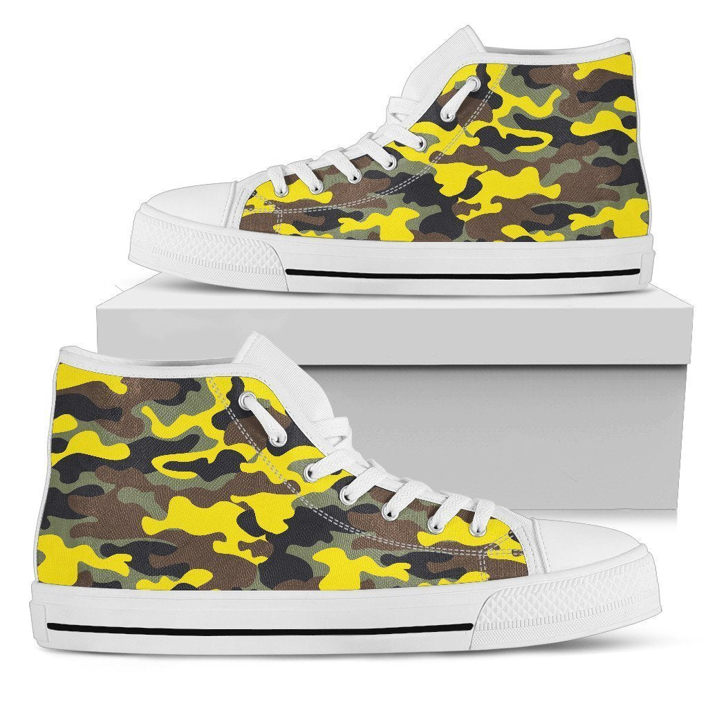 9d725c5305707 Yellow Brown And Black Camouflage Print Men's High Top Shoes – GearFrost